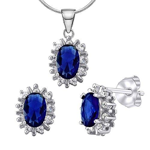 Silverstone EGO Juego de joyas con cristal azul en color zafiro–925plata de ley rodio