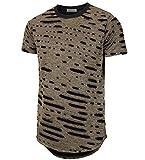 KLIEGOU Mens Hipster Hip Hop Ripped Round Hemline Hole T Shirts(05-3) Gold L