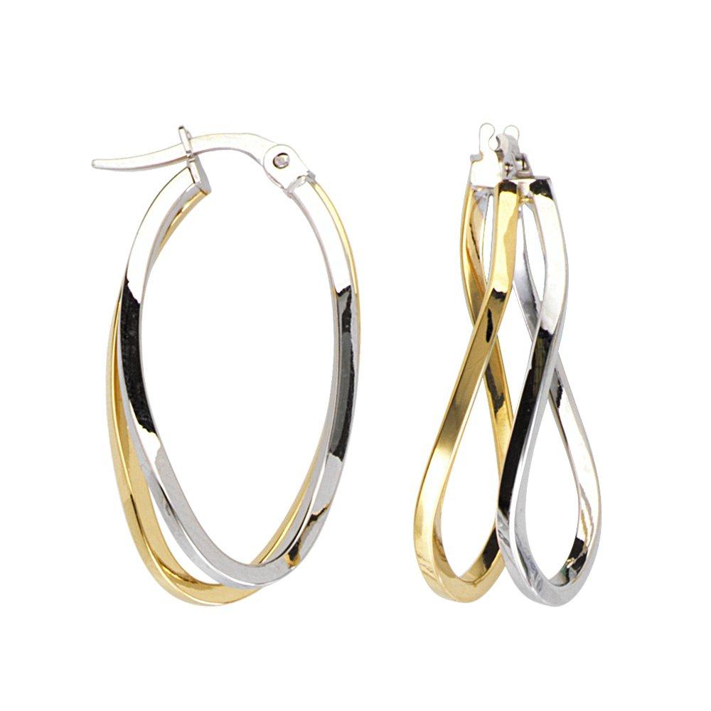 Hoop Earrings 10Kt Gold Double Wave Square Tube Hoop Earrings
