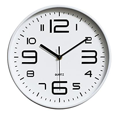 """Guojia 12 inches Modern Wall Clock, Silent Non Ticking, Quartz Decorative Wall Clock, Modern Style Good for Living Room & Home & Office Battery Operated White - Size: 12""""(30.5cm) Frame material: PVC Pointer material: Metal - wall-clocks, living-room-decor, living-room - 51YibJsloML. SS400  -"""
