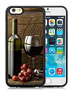 Beautiful Designed Cover Case For iPhone 6 4.7 Inch TPU With grapes bottle and glass of red wine Black Phone Case