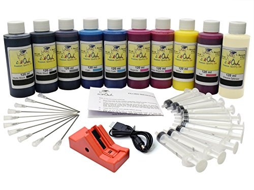 InkOwl - Complete Refill Kit for use in CANON PRO-10 printers (PGI-72 ink) - 10x120ml USA pigment ink plus the chip resetter (Plus Printer Refill)