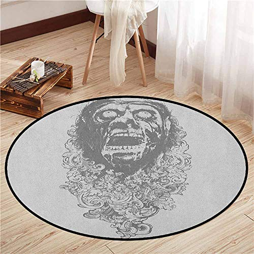 Non-Slip Round Rugs,Zombie,Retro Gothic Sketch of a Scary Man with Grunge Effects Monster Evil Hand Drawn Print,Super Absorbs Mud,5'3