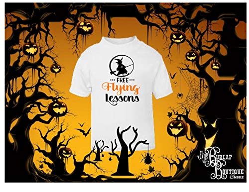 Halloween Themed Handmade Tee, Free Flying Lessons, Broom, Witch, T - Shirt, Tshirt, Ladies, Mens, Toddlers and Youth Sizes S - 4XL Several colors