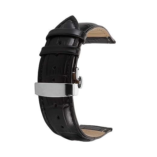 Correa De Reloj Cuero del Becerro Correa De Repuesto Pulsador Mariposa Deployant Clasp Ajuste para Tradicional Deportivo Reloj Inteligente 14mm Negro: ...