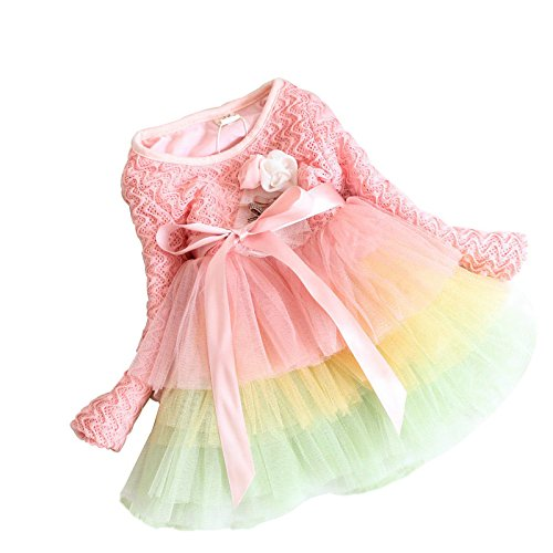 DFXIU Baby Girl Dress Long Sleeve Lace Princess Party Pink Skirts 1-2 Years Old
