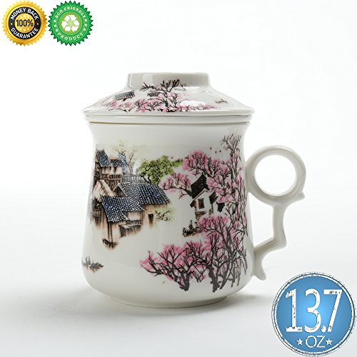 Chinese Tea-Mug(13.7oz) with Infuser and Lid, TEANAGOO-Neptune,Asian Porcelain Steel Filter,Tea Cup Maker,Brewing Steep Strainer,Portable Big Brewing Women dad Adult Work White Loose Leaf Gift Tea Set (Porcelain Infuser)