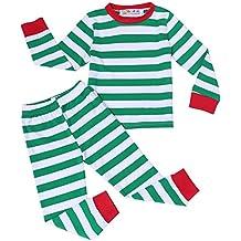BELLE-LILI Boys Girls 2 piece Christmas Striped Cotton Kids Pajamas Set