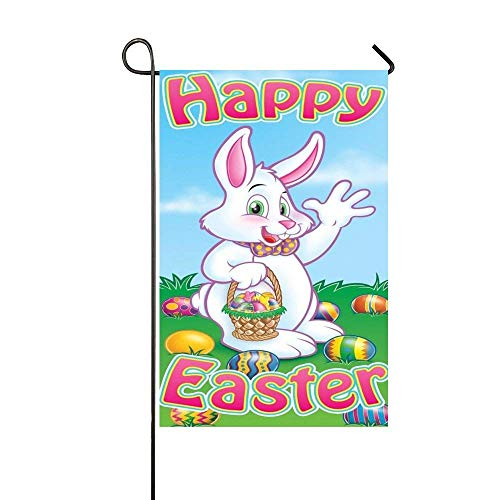 Dozili Garden Flag Happy Easter Rabbit Say Hello Home Decora