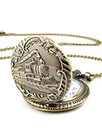 Unisex Antique Case Vintage Brass Rib Chain Quartz pentand necklase Pocket Watch Train Montre de poche