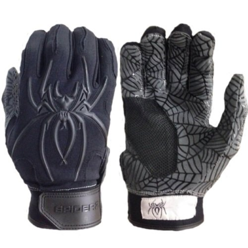 Spiderz大人用ハイブリッドバッティンググローブシリコンWeb Palm B01N7OWCXE Adult X-Large|Black/Black Black/Black Adult X-Large