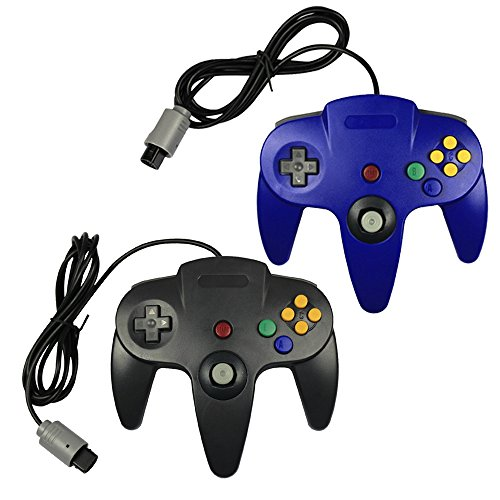Pomilan 2 Packs Classic Retro Wired Controllers For N64(Black and Blue)