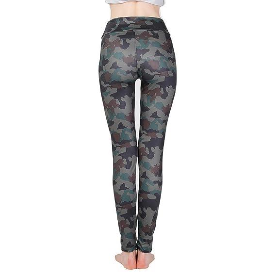 LUCKDE Damen Camouflage Tarnung Sport Hosen Elastic Freizeit Fitness  Pilates Training Tanzen Atmungsaktiv Schnell Trocknend Miederpants 4527e04dd9