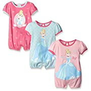 Disney Baby Cinderella Rompers, Pink, 9 Months (Pack of 3)
