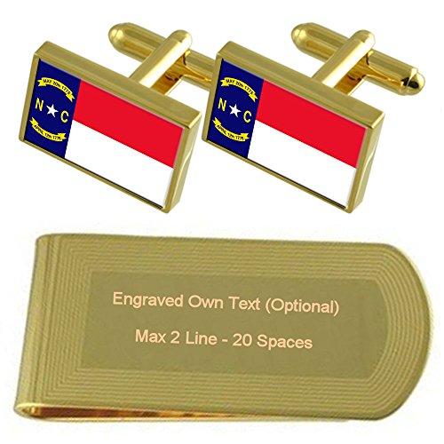 tone Cufflinks Engraved Gift Gold North Flag Money Carolina Set Clip 4qtwI0Bw