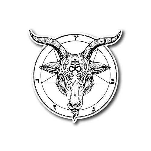 10677 Pentagram with Satanic Goat Head Sticker Decal for Car, Motorcycles, Windows, Laptops, Walls and More (6)
