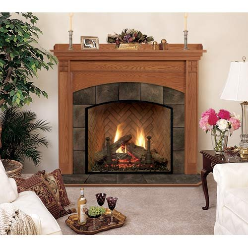 Royalton A Flush Fireplace Mantel in Medium Custom Cherry by Hearth and Home Mantels