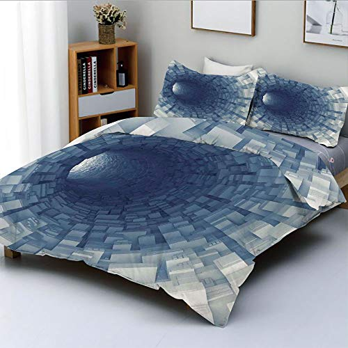 Duplex Print Duvet Cover Set Twin Size,Endless Tunnel with Fractal Square Shaped Segment Digital Dimension ArtworkDecorative 3 Piece Bedding Set with 2 Pillow Sham,Gray,Best Gift for Kids & Adult