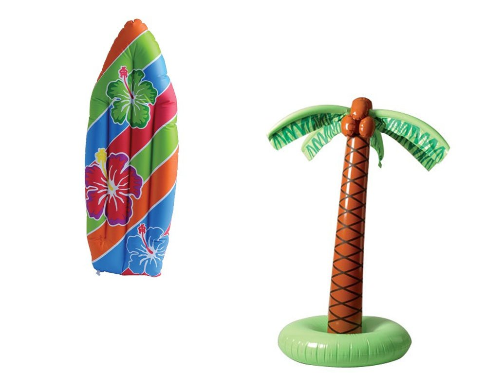 USToy Inflatable Luau Surfboard & Palm Tree Inflate 2 Piece Bundle