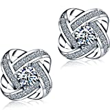 Image of DASATA Women's White Sterling 925 Silver Stud Earrings For Party Wedding DFE0004 White