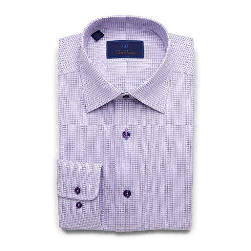 (David Donahue Mens Regular Fit Two Tone Mini Basketweave Dress Shirt,Lilac Purple,16.5