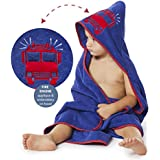 """Boys Hooded Towel FIRE TRUCK Fire Engine 35"""" x 35"""" for Infants, Toddlers and Kids, Great for Gifts. Perfect for Bath, Pool and Beach. 100% Cotton"""