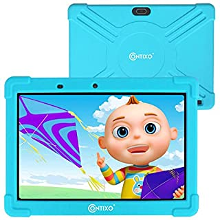 Contixo 10 Inch Kids Learning Android Tablet with Parental Control 16GB for Children Infant Toddlers at Home School - Pre-Loaded Educational Apps - Child-Proof Case - Great Gift for Kids (Blue)