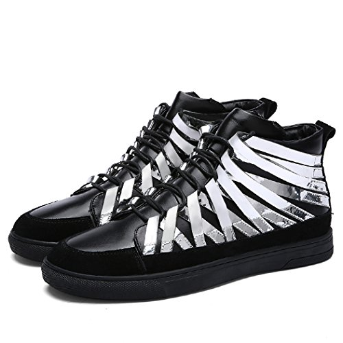 Fashionable Sequins iMaySon Men's TM Hip Leather Sneakers Suede Silvery Patent Hop Nightclub BxpEWqRx