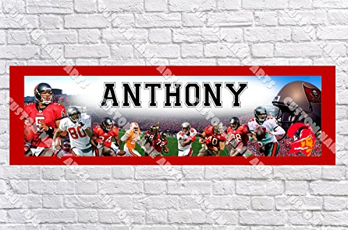 (Personalized Tampa Bay Buccaneers Banner - Includes Color Border Mat, With Your Name On It, Party Door Poster, Room Art Decoration - Customize)
