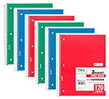Mead Spiral Notebook Wide Ruled 3-Subject 120-Sheet, 10.5inx8in, 6-Pack Deal