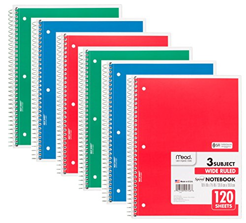 "Mead Spiral Notebook, Wide Ruled, 3 Subject, 120 Sheets, 10.5"" x 8"", Assorted Colors, 6 Pack"