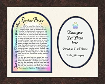 pet memorial photo frame with rainbow bridge poem gift art 9