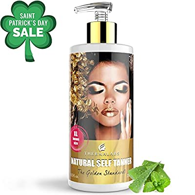 Cheapest Golden Standard Self Tanner: Get a Bronzed and Healthy Tan! Sunless Tanning Lotion Made With Organic and Natural Ingredients (XL Bonus Size 250ml 8.5oz) by Thermalabs by Thermalabs - Free Shipping Available