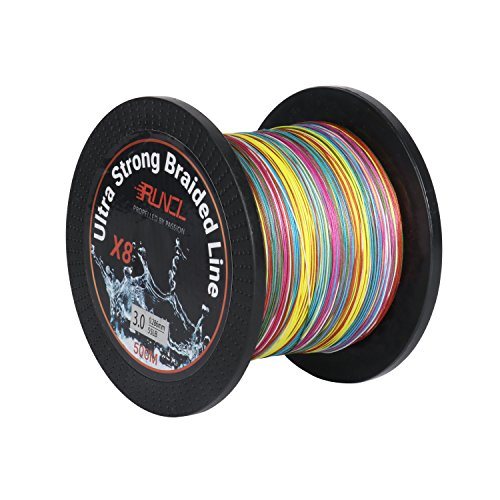 RUNCL Braided Fishing Line with 8 Strands, Fishing Line PE Material 546Yds/500M with Multiple Colors for Freshwater and Saltwater (546Yds/500M, 40LB(18.1kgs))