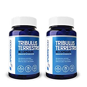 2x Sports Food Tribulus Terrestris - 95% Saponins, 80% Protodioscin - 1000 mg x 90 Capsules Bulgarian Extract - Natural Testosterone & Libido Booster for Men - High Strength Organic Herbal Extract