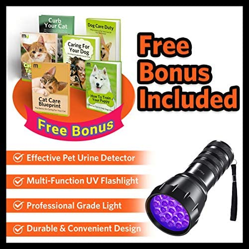 MIU COLOR Black Light UV Flashlight, 21 LEDs 395nm UV Blacklight, Dogs Cats Urine Detector, Handheld UV Flashlight for Dry Stains and Scorpion Hunting