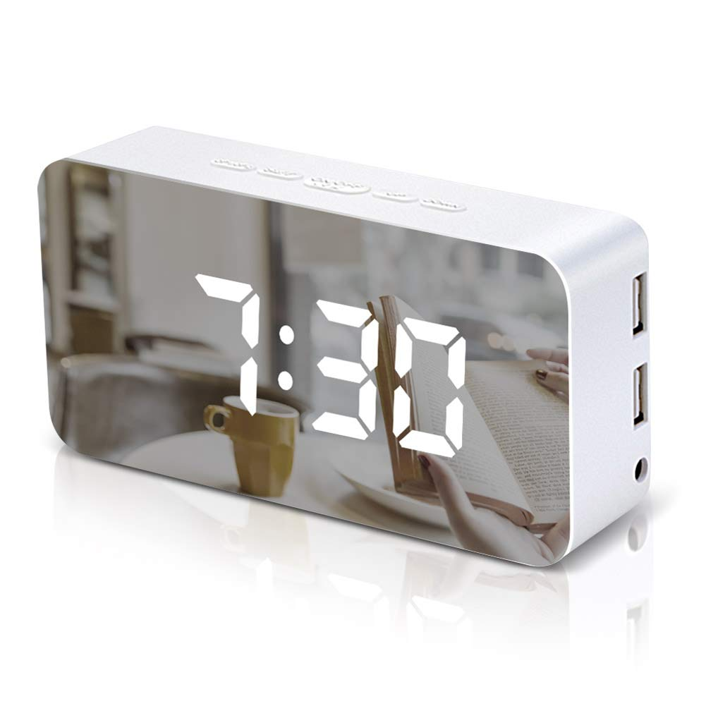 VAlinks Digital Alarm Clock,Voice-Activated LED Mirror Clock with Dual USB Charging Ports,115 Color,Temperature and Weenkend Snooze Clock for Bedroom Office Travel,White