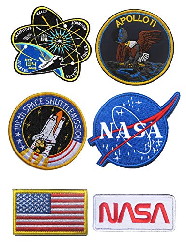 (WZT 6 Pcs Tactical Flag Patch - Combination USA NASA Patch Embroidered Morale Lot Military Embroidered Patches)