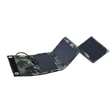 Feleph Cargador Solar con 4 Paneles solares, Resistente al Agua, Portátil, Cargador de