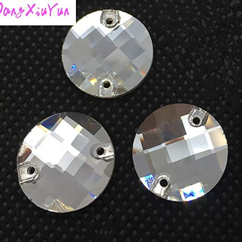 Calvas Crystal AB/Clear Round Chessboard Silver Base Sew On Rhinestone Beads, Sew On with 2holes Crystal - (Color: Crystal Clear Color, Item Diameter: 14mm -