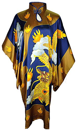 Amazing Grace Elephant Co. Chinese Style Modern Qipao Cheongsam Dress Hand Painted Silk MuMu Assorted Design (Dragon Blue)