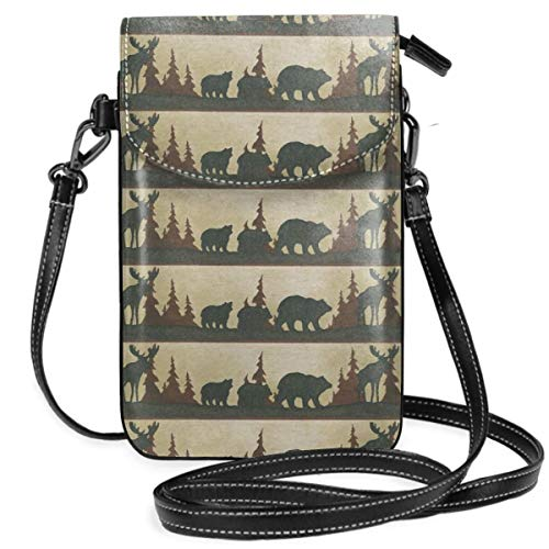 Small Cell Phone Purse For Women Leather Moose Bear Insides Card Slots Crossbody Bags Wallet Shoulder Bag