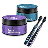 Alma-Z Activated Charcoal Teeth Whitening Powder Kit With Toothbrush Set – Safe Natural Pure Organic Non-Abrasive Teeth Whitener System - Value Pack of 2