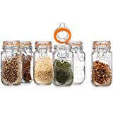 Elegant Home High Quality Airtight Glass Spice Jar Hermetic Seal Bail & Trigger /Jar with Lid • Use As Spice Canister • / Set of 6 (Clear)