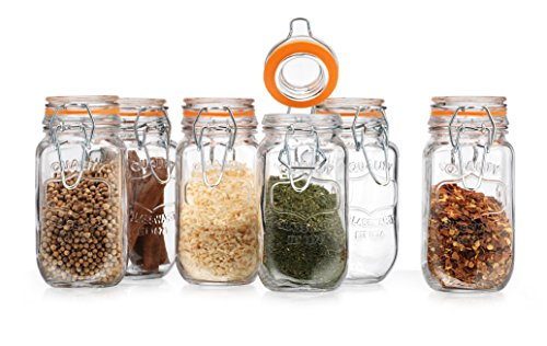 Elegant Home High Quality Airtight Glass Spice Jar Hermetic Seal Bail & Trigger /Jar with Lid • Use As Spice Canister • / Set of 6 (Canister Spice Jar)