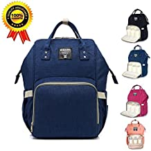 Diaper Bag Backpack for Baby Care, Multi-Functional Waterproof Travel Backpack Nappy Tote Bags Large Capacity Creative Fashion Package Best Gift for Mom&Dad (Dark Blue)