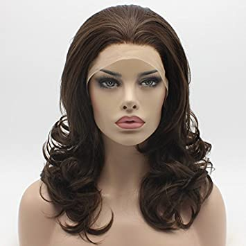 Amazon.com   Lushy Stylish Medium Length Ash Brown Mix Wig Heat Friendly  Heavy Density Synthetic Lace Front Wig   Beauty a4561adcd020