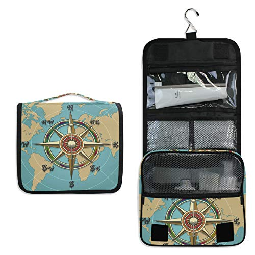 (AUUXVA Hanging Toiletry Bag Vintage Compass World Map Travel Cosmetics Bag Portable Toiletry Kit for Women Men)