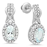 10K White Gold Oval Aquamarine & Round White Diamond Ladies Halo Style Dangling Drop Earrings
