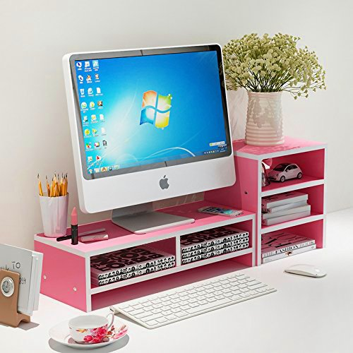 Met Life - Monitor Stand 2 Compartment Organizer Come With Portable Tall Side Stand   Pink